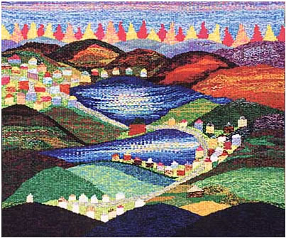 A photo of the community tapestry - Tissons Val des Monts Tous Ensemble� 5' x 6' 2000